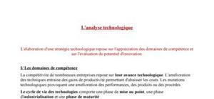 L'analyse technologique