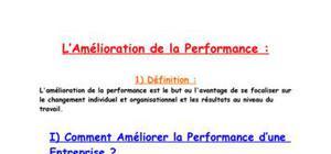 L'amélioration de la performance