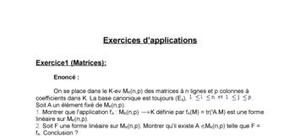 Exercices d'application et corrigés - Les Matrices