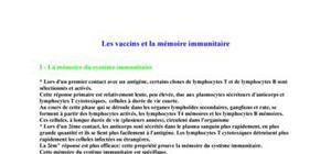 Les vaccins et la mémoire immunitaire