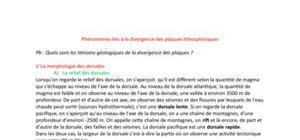 Phénomènes liés à la divergence des plaques lithosphériques