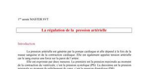 Régulation de la pression artérielle