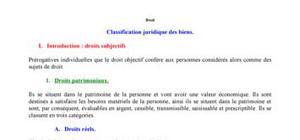La classification juridique des biens