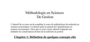 Méthodologie en sciences de gestion