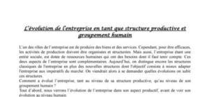 L'entreprise structure et groupement