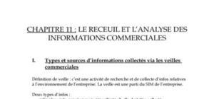 LE RECEUIL ET L'ANALYSE DES INFORMATIONS COMMERCIALES