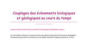 Couplages des évènements géologiques et biologiques (Tle S)