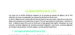 La déductibilité de la TVA