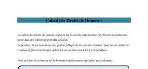 Calcul des droits de douane