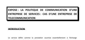 EXPOSE SUR LA POLITIQUE DE COMMUNICATION EN MARKETING DES SERVICES