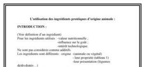 L'utilisation des ingrédients protéiques d'origine animale