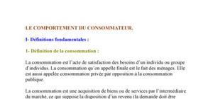 Micro économie : Le comportement du consommateur