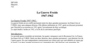 La Guerre Froide 1947-1962