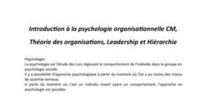 Psychologie organisationnelle CM