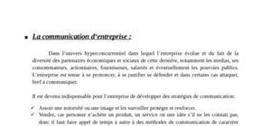 La communication d'entreprise, commerciale, externe et interne