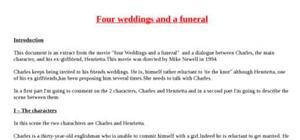 Explication de texte : four weddings and a funeral