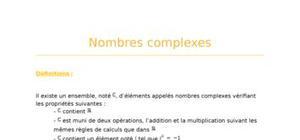 Nombres complexes : fiche révision bac S