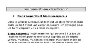 Les biens et leur classification