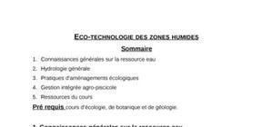 Eco-technologie des zones humides