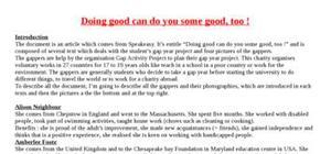 Explication texte : Doing good can make you doing some good too