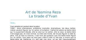 Lecture analytique sur la tirade d'Yvan dans Art