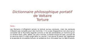"""Lecture analytique sur """"Torture"""" de Voltaire"""
