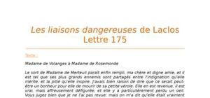 Lecture analytique sur la Lettre 175 des Liaisons Dangereuses