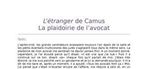 Lecture analytique sur l'Etranger de Camus
