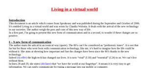 Explication de texte : Living in a virtual world
