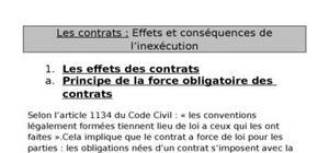 Les contrats : Effets et conséquences de l'inexécution