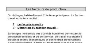 Les facteurs de production