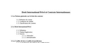 Droit International Privé et Contrats Internationaux