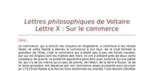 """Lecture analytique sur la lettre X """"Sur le commerce"""" de Voltaire"""