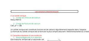Fiche de chimie - Les solutions électrolytiques