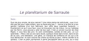 Lecture analytique du Planétarium de Sarraute