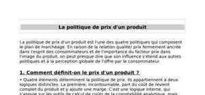 La politique de prix d'un produit