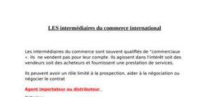 Les intermédiaires du commerce international