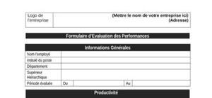 Fiche d'évaluation des performances dans l'entreprise