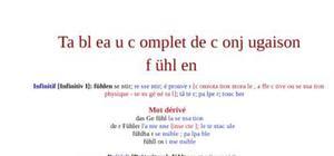 Tableau de conjugaison du verbe fühlen