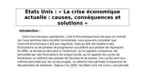 La crise aux Etats-Unis : causes, conséquences et solutions