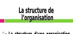 La structure de l'organisation