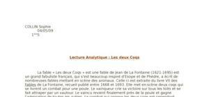 """Lecture analytique : """"Les deux coqs"""""""