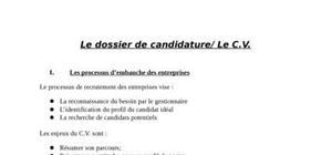 Le dossier de candidature et le CV