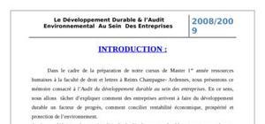 Le Développement Durable & l'Audit Environnemental