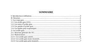 Matière grasse structure et classification