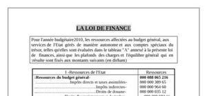 La loi de finance marocain 2010