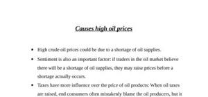 Causes high oil prices