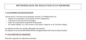 Methodologie de redaction d'un memoire