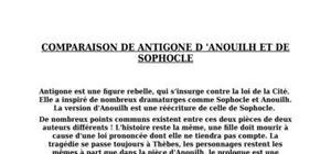Comparaison entre antigone de anouilh et de sophocle