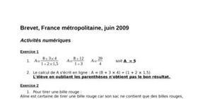 Corrigé brevet 2009 mathématiques